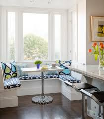 room buy breakfast nook set: fabulous kitchen breakfast alluring modern kitchen breakfast nook white color nook white blue colors patterned cushions seat white blue green colors throw pillows rectangle shape white table with metal base kitchen breakfast n