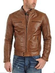 men s real lambskin tan brown leather motorcycle jacket slim fit biker jacket