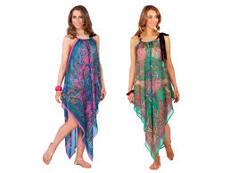 Womens Chiffon Kaftan Beach Cover Up Short Long Paisley Summer