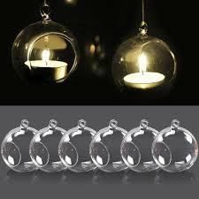 Hanging Glass Tea Light Spheres Home Furniture Diy Vases 6 12 20x Hanging Glass Bauble