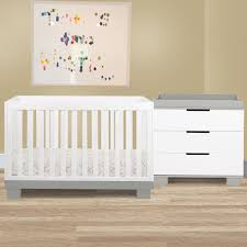 modo in convertible crib set in greywhite