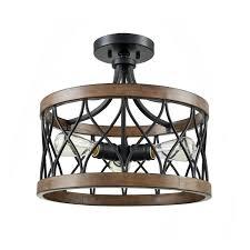 Kichler 38171 Distressed Wood Semi Flush Mount Light Danxu Lighting 3 Light Drum Shade Semi Flush Mount Burled
