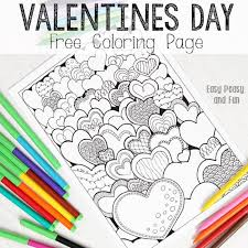 Small Picture Hearts Valentines Day Coloring Page for Adults Easy Peasy and Fun