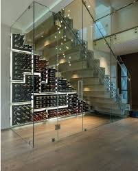 home wine room lighting effect. Under Stair Wine Room With Custom Glass Featuring The PEG System Racking On Glossy Black Finish Backings. Cut Out Panels Form A Mosaic Pattern Home Lighting Effect X