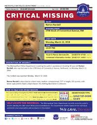 """DC Police Department ar Twitter: """"Critical #MissingPerson Ramon Randall,  30. Last seen 3/12 in the 2700 block of Connecticut Ave, NW Seen him? Call  202-727-9099/text 50411… https://t.co/R8w0b49NiQ"""""""