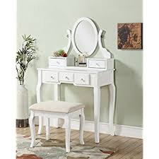 vanity table. Roundhill Furniture Ashley Wood Make-Up Vanity Table And Stool Set, White O