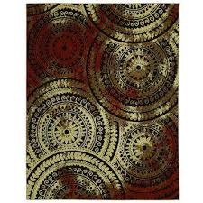 spiral medallion brown 9 ft x 13 ft area rug