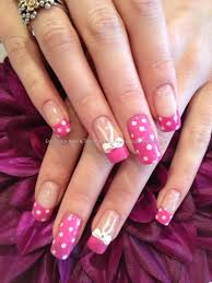 Eye Candy Nails & Training - Pink polka dots with 3D bows by ...