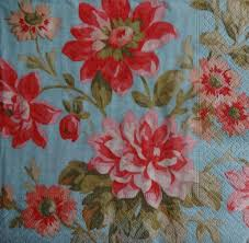 Flower Printed Paper 4 Red Flower Decoupage Printed Paper Napkins Graces Laces