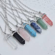 real crystal necklace 12pcs bullet crystal quartz pendant necklace natural stone real