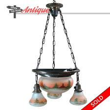 antique obverse painted hanging chandelier with hand painted country scene