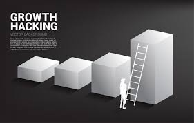 Move Up The Ladder Silhouette Of Businessman Ready To Move Up On Bar Graph With