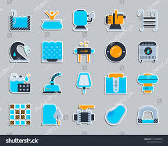 Pool Equipment Design Swimming Pool Equipment Sticker Icons Set Stock Vector