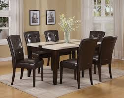 Marble Top Kitchen Table Set Acme Justin White Faux Marble Top Dining Table Set In Espresso By