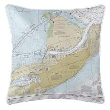 Tx Galveston Pelican Island Tx Nautical Chart Pillow