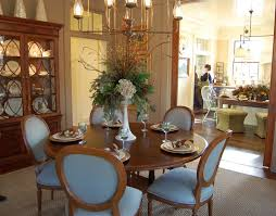 Marvelous Centerpieces Decors Blue Dining Room Ideas With Flowers Also Blue  Chairs Set As Well As Wooden Cabinetry As Decorate In Open Dining Room Ideas