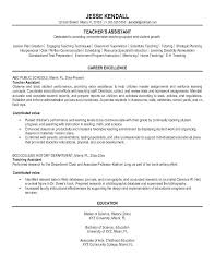 Resume Examples Teacher Teacher Assistant Resume Sample Within
