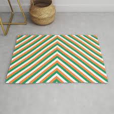 orange white and green irish chevron stripe rug
