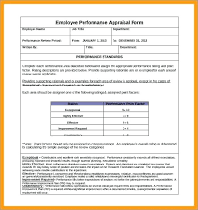 Employee Performance Evaluation Form Template Rating Examples ...