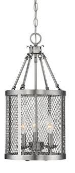 akron brushed pewter wire mesh drum foyer light 10 wx20 h
