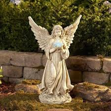 large garden angel large lawn statues large garden angel statue holding solar light outdoor patio lawn