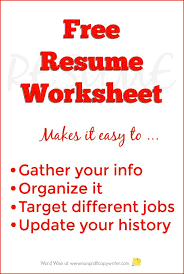 Build Free Resume Fascinating Free Resume Worksheet To Build Your Resume Pinterest Copywriter