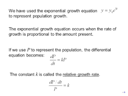 we have used the exponential growth equation