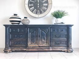 black painted media console balayage looking furniture gradual distressing distressing naturally worn