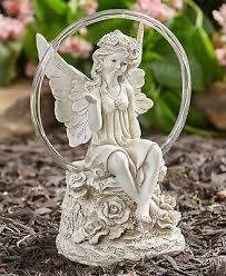 solar circle light angel garden statue