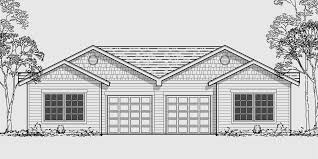 house front color elevation view for d 449 one story duplex house plans narrow