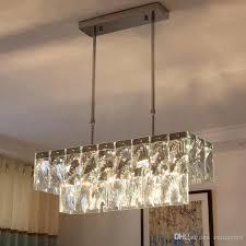 modern luxury rectangular crystal chandelier lighting e14 hanging crystal pendant lamp fixture ac85 265v for living room restaurant pendant lights kitchen