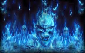skulls dark abstract flames blue