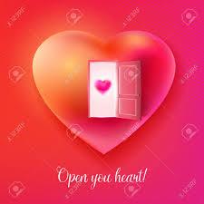 vector vector heart with open door and small heart at the door