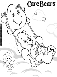 Small Picture Care Bears Swinging on Star Coloring Printable Page coloring