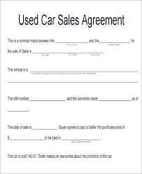 Vehicle Sales Agreement Extraordinary Vehicle Purchase Agreement Format In Word Printable Templates