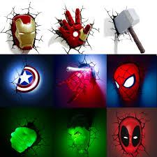 Marvel Avengers 3d Wall Lights Marvel The Avengers 3d Led Wall Lamp Bedroom Living Room Creative Novelty Night Light For Ironman Spiderman Hulk Captain America