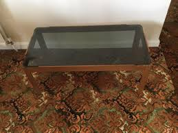 retro teak smoked glass top coffee table