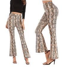 Bell Bottom Pants Design Us 7 71 50 Off Design High Waist Women Snakeskin Leopard Pants Wide Leg Long Flare Bell Bottom Trouser Fashion Ladies Autumn Pants In Pants Capris
