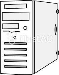 イラストパソコンコンピューターサーバー白イラスト No 329012無料