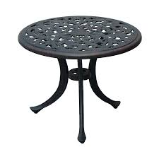 round metal patio table suncoast cast aluminum darlee series antique bronze end wood tables glass top