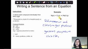 writing sentences from chemical equations vice versa