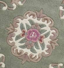 lotus chinese round rug light green