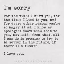 I M Sorry Love Quotes Awesome I'm Sorry For The Times I Hurt You For The Times I Lied To You And