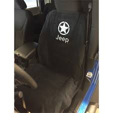 seat armour seat cover black with white star over jeep logo