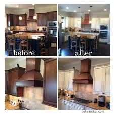 cream cabinets with chocolate glaze bella tucker decorative finishes after before 1 before painted kitchen