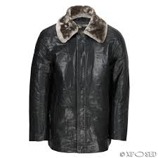 new mens black faux leather jacket detachable fur lining collar warm winter coat