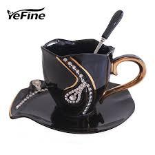 Decorating With Teacups And Saucers YEFINE Diamonds Design Coffee Mug Creative Gift Lovers Tea Cups 100D 82