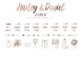 Wedding Timeline Copper Wedding Sign 'Timeline Feather' Peppa Penny 8