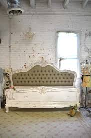 Painted Cottage Shabby French Linen Tufted Romantic Bed KING / Q