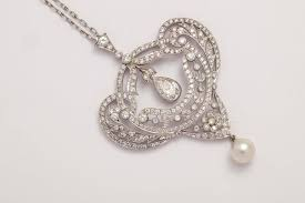 edwardian pearl diamond pendant on chain in excellent condition for in new york ny
